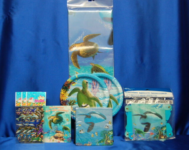 Ocean Sea party Set # 10 Killer Whale Turtle Napkins Banners Tablecovers