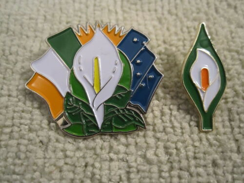 Easter Lily Badges 2pc Set Irelands Tri Color//Starry Flags /& Traditional Lily