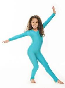 Childrens-Girls-Shiny-Lycra-Dance-Gymnastics-Long-Sleeve-Unitard-Catsuit-KDC012