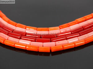 Natural-Coral-Gemstone-3mm-x-7mm-Round-Tube-Beads-16-039-039-Strand-Red-Orange-Pink