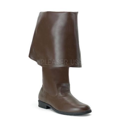Funtasma MAVERICK-2045 Men's Brown PU Leather Pirate Cptain Bell Cuff Knee Boots