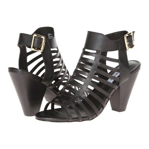 STEVE MADDEN Kendal Black Leather Caged High Heels Size 9M