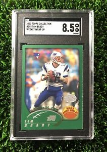 2002-Topps-Collection-Foil-Tom-Brady-Weekly-Wrap-Up-SGC-8-5-PSA-295-RARE