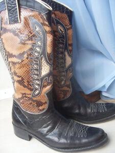 Details zu Stiefel, Cowboy Stiefel, Gr. 37, Kroko Prägung, echt Leder!!!