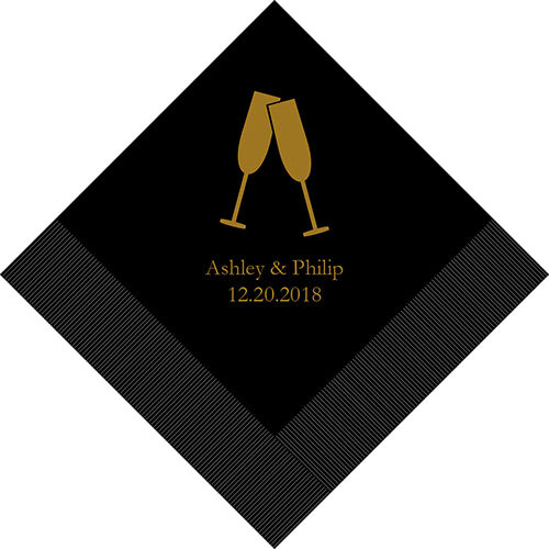 300 Champagne Flutes Personalized Printed Wedding Cocktail Napkins