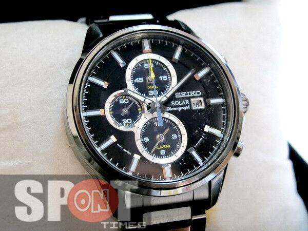 Seiko Solar Chronograph Black Ion Plated Mens Watch Ssc257