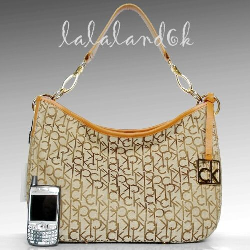 Caramel Handbag Shoulder Medium Calvin Ck Khaki Brown Bag Klein Logo Hobo kTXPZiuO