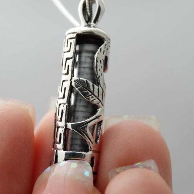 Mezuzah Necklace 925 Sterling Silver Pendant Torah Hebrew Jewish Doorpost SN