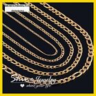 18K YELLOW GOLD GF FIGARO CURB CHAIN WOMENS MENS SOLID CHARM 16-30INCH NECKLACE