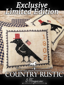 Handmade Cross-Stitched Primitive CROW Tuck Pillow-Exclusive Limited Edition