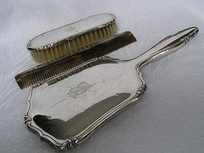 3 Tlg. Frisierset Aus Silber 835-er Noch Nicht VulgäR