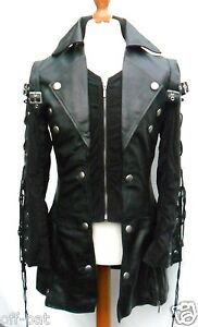 Black-GOTH-Coat-Mans-LAMBS-LEATHER-Gothic-Steampunk-Jacket