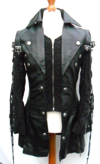 Black GOTH Coat Mans LAMBS LEATHER Gothic Steampunk Jacket