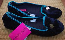 Betsey Johnson Slippers L 9/10 Faux Fur Velvet Silver Heart NWT $34 Black Green