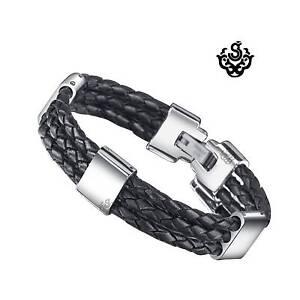 Silver-black-leather-stainless-steel-handmade-bracelet