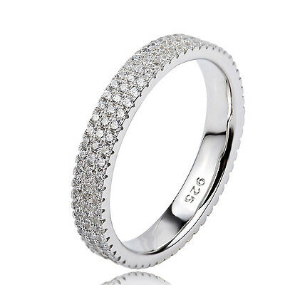 Superior 3Rows Stackable CZ Diamante Ring Wedding Promise 925 Sterling Silver