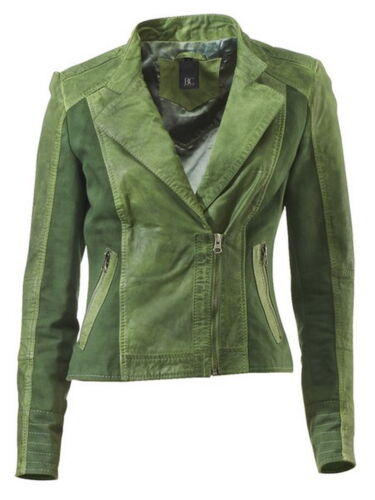 NUOVO gruen-Tg BC-Giacca di pelle-leather jacket-CANVAS-Biker-style 36,38