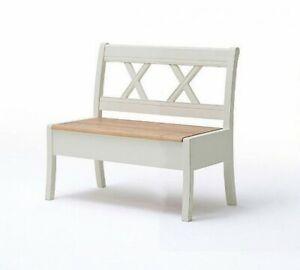 Sitzbank Mit Lehne 105cm Massiv Küchen Truhen Bank Holz Kiefer Creme