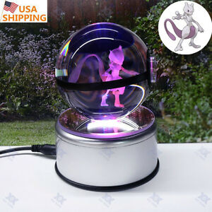 Pokemon Go Mewtwo Big Crystal ball 3D LED Night Light Desk Table Lamp Best Gift
