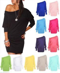 Womens-Long-Sleeve-Off-Shoulder-Mini-Batwing-Baggy-Tunic-Top-Ladies-Fancy-Dress