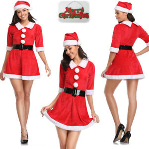 469c97b5419 Women s Mrs Santa Claus Set Party Costume Christmas Outfit Dress ...
