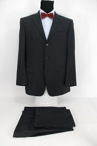 90e4762109bef Image is loading Ermenegildo-Zegna-3Btn-Suit-15Milmil15-Wool-Charcoal-Gray-