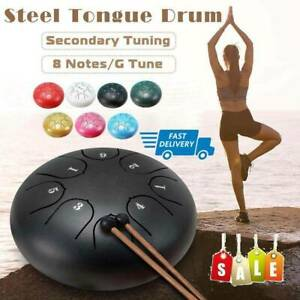 "6 /""Steel Tongue Drum 8 Tones Handpan Hand Tank Drum Drumstick Bags mit Z2B7"