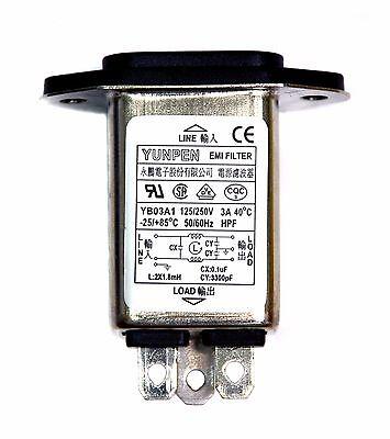 1pc EMI Filter IEC AC Inlet YB03A1 115/250V 3A -25~+85℃ UL CSA VDE RoHS YUNPEN