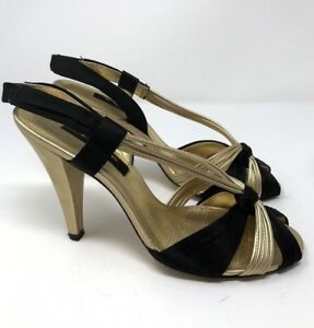 Nina-NY-Womens-Sandals-Strappy-Black-Gold-Shoes-Heels-Slingback-Size-8M