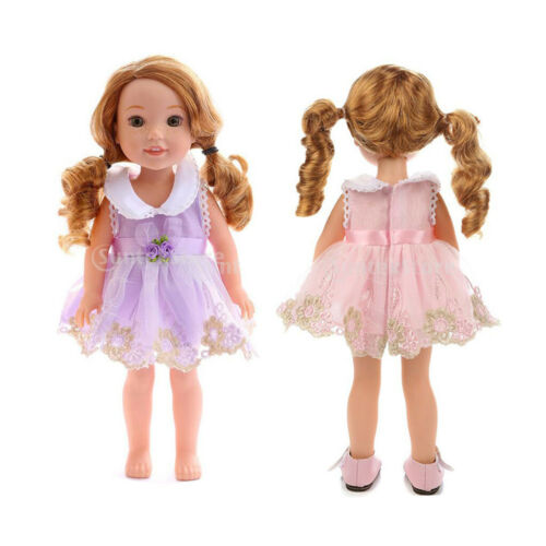 2pcs Beautiful Sleeveless Flower Skirt Summer Clothes for 14in AG American Doll