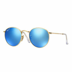 RayBan-Round-Metal-POLARIZED-Sunglasses-Gold-Blue-Flash-3447-112-4L-50-21