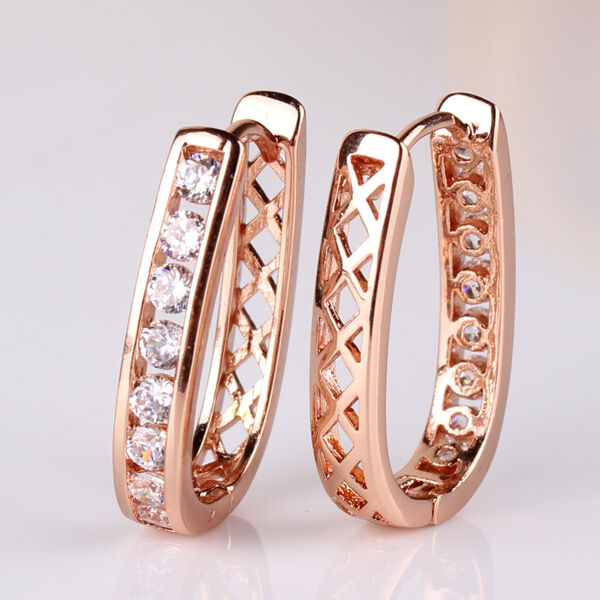 18K Gold filled Huggie Hoop Earrings Channel Set Lab Swarovski Elements  1.76ct