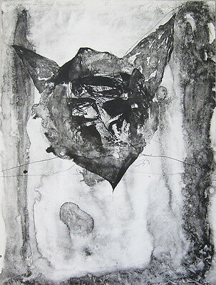 """NATHAN OLIVEIRA Signed 1964 Original Lithograph - """"Giacometti and the Devil"""""""