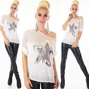 Sexy-3-4-Arm-Pullover-Hemd-Tunika-Oberteil-Shirt-mit-Stern-Beige-Gr-34-36-38