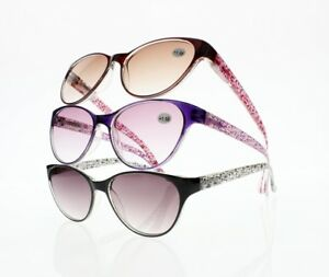ed4b2687e3d6 Image is loading Stylish-Women-Oversized-Cat-Eye-Tinted-Lens-Reading-