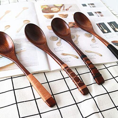 Wooden Spoon Soup Dinner Spoons Cutlery Tableware Kitchen Serving Utensils MP