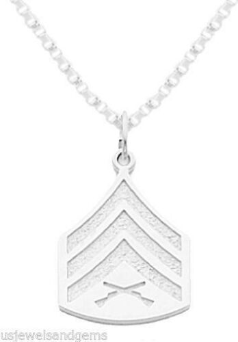 0.925 Sterling Silver US Marine Corps USMC Sergeant Pendant Charm Necklace