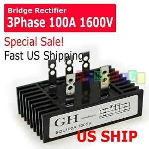 GH SQL 100A Amp 1000V 3 Phase Diode Metal Case Bridge Rectifier TS