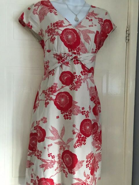 LADIES   WHITE STUFF  STUNNING  SPRING SUMMER  TEA LINEN    DRESS  SIZE  12