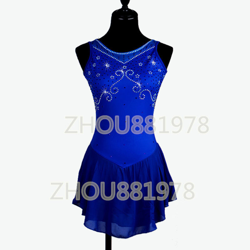 New Ice Figure Skating Dress Figure skaitng Dress For Competition  Bule handmade  the best after-sale service