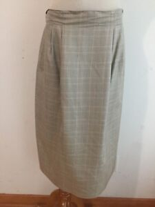 Austin Reed Vintage Silk Straight Skirt Tan W Sage Taupe Houndstooth Plaid Sz 12 Ebay