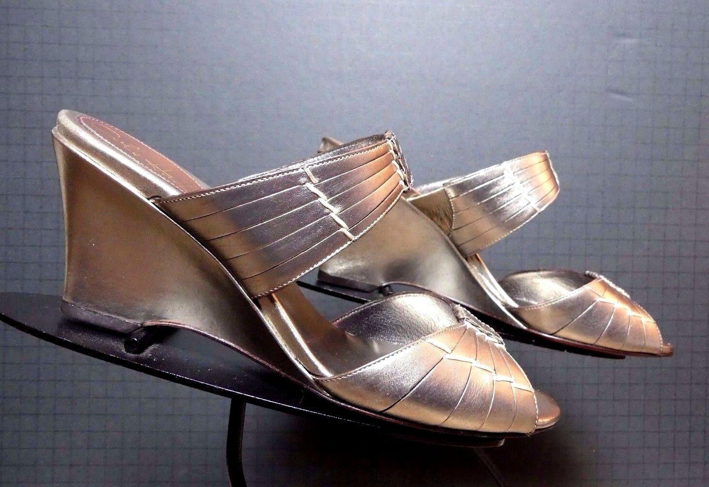 Women's Cole Hann Silver Metallic Wedge Open Toe Slide Sz, 8B MINT!