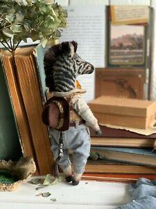 Teddy-Handmade-Interior-Toy-Collectable-Gift-Animal-OOAK-Zebra-Cowboy-Doll-Decor