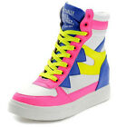 Womens High Top Lace Up Hidden Wedge Heel Running Sports Fashion Sneakers Shoes