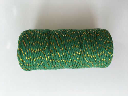 BAKERS TWINE 2mm 2 PLY Solid Gold//Silver//Black//Red//Green Metallic String 90 m