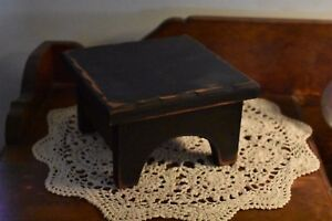 NEW-PRIMITIVE-COUNTRY-7-034-SQUARE-BLACK-TABLE-RISER-HOME-DECOR