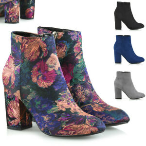Womens-Ankle-Boots-Block-Mid-High-Cuban-Heel-Ladies-Casual-Smart-Party-Shoes-3-8
