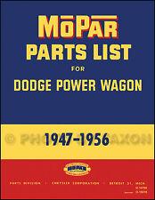 Dodge Power Wagon Parts Book 1947 1948 1949 1950 1951 1952 1953 1954 1955 1956