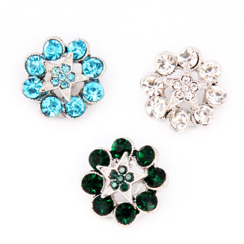 Flower Shaped Rhinestone Snaps Buttons Charms Fit 18mm Snap Jewelry