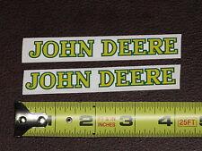"2 STICKERS JOHN DEERE 4"" LONG TEXT VINYL STICKER DECAL TOY FARM TRACTOR GATOR"
